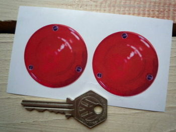 "False Round Red Rear Light Stickers. Pedal Car. 2"" Pair."