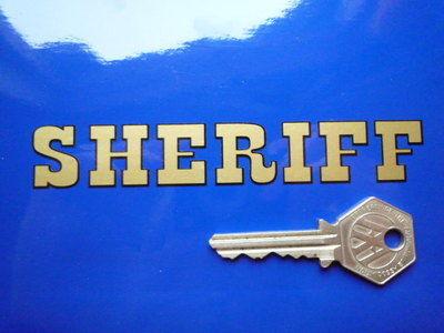 "Sheriff Cut Vinyl Pedal Car Sticker. 5"" or 8""."