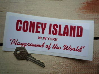 "Coney Island, New York, Playground of the World Sticker. 6""."