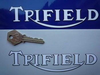 "Trifield Black Outline Cut Text Stickers. 6"" Pair."