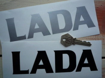 "Lada Cut Text Stickers. 7"" Pair."