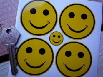 Smiley Face Wheel Centre Style Stickers. Set of 4. 50mm.