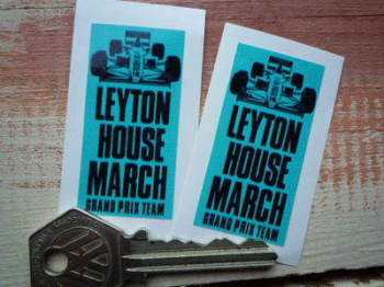"Leyton House March Grand Prix Team Stickers. 2"" Pair."