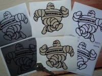 "Michelin Bibendum Cartoon Running Handed Shaped Stickers. 4"" Pair."