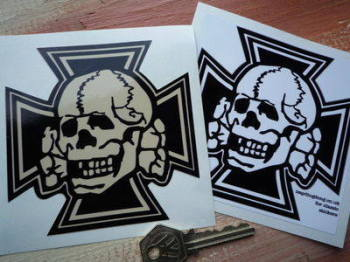 "Skull & Iron Cross Shaped Sticker. 4""."