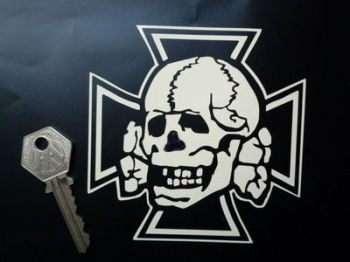 "Skull & Iron Cross Cut Vinyl Sticker. 4"" or 6""."