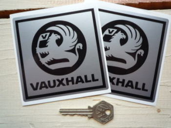 "Vauxhall Black & Silver Stickers. 4"" Pair."