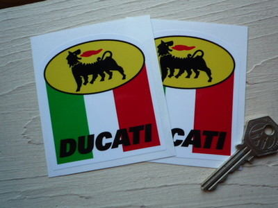 "Ducati Agip Stickers. 3"" Pair."