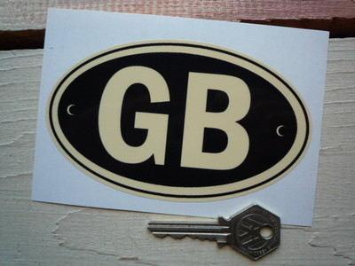 "GB Black & Cream ID Plate Sticker. 5""."