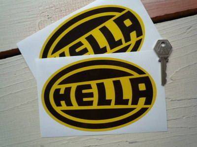 "Hella Black & Yellow Oval Stickers. 6"" Pair."