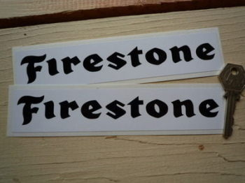 "Firestone Oblong Black on White Stickers. 7"" Pair."