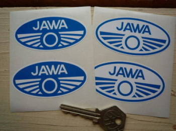"Jawa Blue & White Oval Stickers. 3"" Pair."