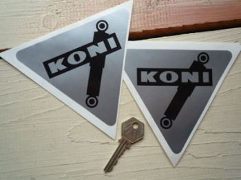 "Koni Shock Absorbers Black & Silver Triangular Stickers. 5"" Pair."