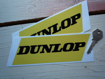 "Dunlop Black on Yellow Slanted Oblong Stickers. 7"" Pair."