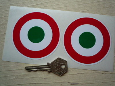 "Italia Italy Italian Air Force Tricolore Roundel Stickers. 3"" or 4"" Pair."