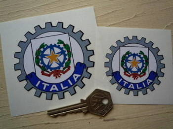 "Italia Italy Cog Style Sticker. 2.5"" or 3""."