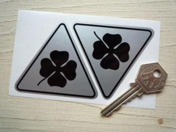 Alfa Romeo Cloverleaf Triangle Black & Silver Stickers. Various Sizes.