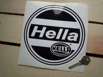 "Hella Black & White Round Sticker. 7""."