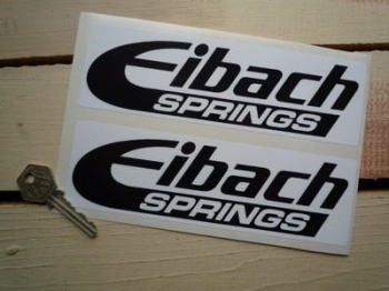 "Eibach Springs Black & White Oblong Stickers. 7.5"" Pair."