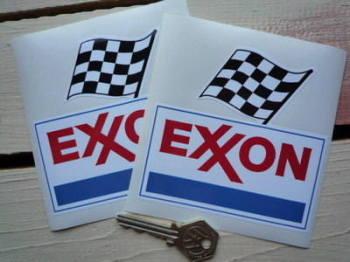 "Exxon Mobil Stickers. 4"" Pair."