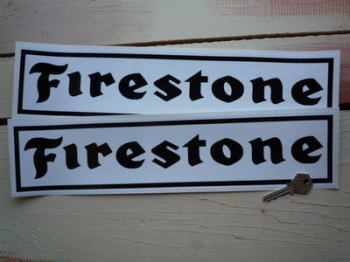 "Firestone Oblong Black on White with Black Outline Stickers. 16"" Pair."
