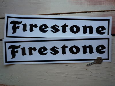 """Firestone Oblong Black on White with Black Outline Stickers. 16"""" Pair."""