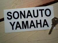 "Sonauto Yamaha Black & White Text Sticker. 6""."