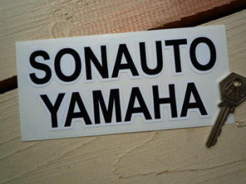 "Sonauto Yamaha Black & White Text Sticker. 6""."