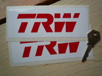 TRW Automotive Red & White Oblong Stickers. 6