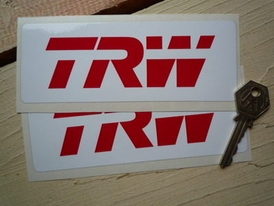 """TRW Automotive Red & White Oblong Stickers. 6"""" Pair."""