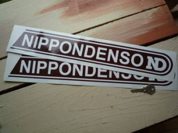 "Nippondenso Brown & White Stickers. 17.5"" Pair."