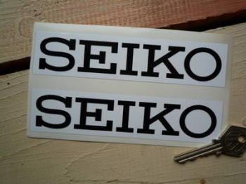 """Seiko White & Black Oblong Stickers. 6"""" Pair."""