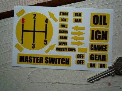 Race Car Yellow Dashboard Stickers Set.