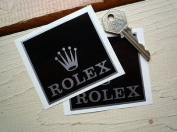 "Rolex Sponsors Black & Silver Stickers. 3"" Pair."