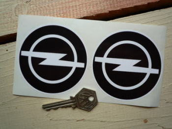 "Opel Black & White Logo Stickers. 3"" Pair."