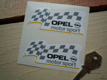 "Opel Motorsport Shaped Stickers. 3.5"" Pair."