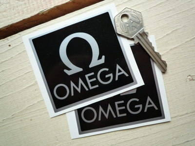 """Omega Black & Silver Stickers. 3"""" Pair."""