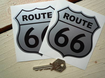 "Route 66 Black & Silver Stickers. 3.5"" Pair."