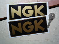 NGK Black & Gold Oblong Stickers. 6