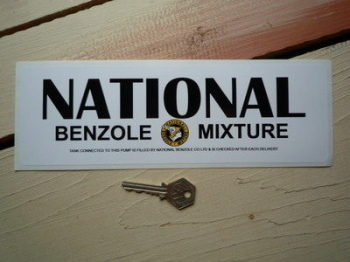 "National Benzole Mixture Black Text Oblong Sticker. 10.5""."