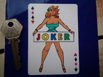 "Joker Woman on Playing Card Sticker. 3.5""."