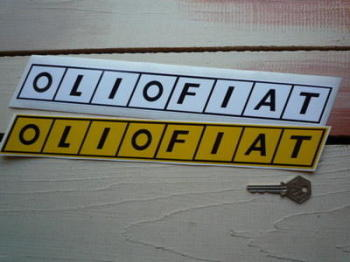 """Olio Fiat Long Oblong Stickers. 12.5"""" or 27"""" Pair."""