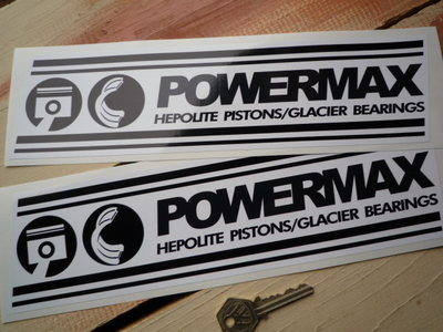 "Powermax Hepolite Pistons Black & White Oblong Stickers. 12"" Pair."
