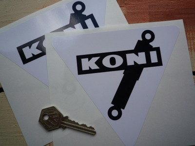 "Koni Shock Absorbers Black & White Triangular Stickers. 6"" Pair."