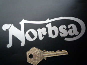 """NorBsa Cut Text Stickers. 5.5"""" Pair."""