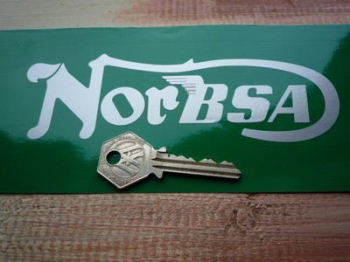 """NorBsa Winged Cut Text Stickers. 6"""" Pair."""