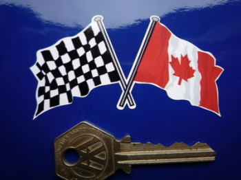 "Crossed Canadian & Chequered Flag Sticker. 3""."