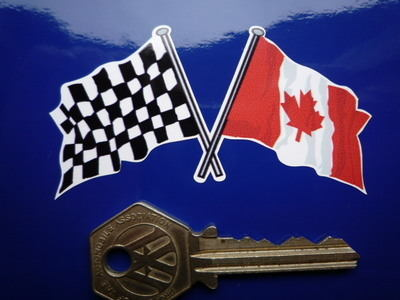 """Crossed Canadian & Chequered Flag Sticker. 3""""."""