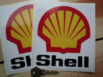 "Shell F1 Angular Black Text & Logo Stickers. 2.25"", 4"" or 5.5"" Pair."