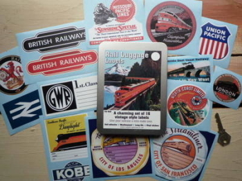 Vintage Style Rail Luggage Labels Set of 15 Stickers in Gift Tin.